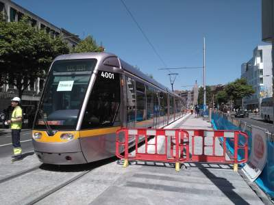 First tram in 68 years to go all the way through O'Connell