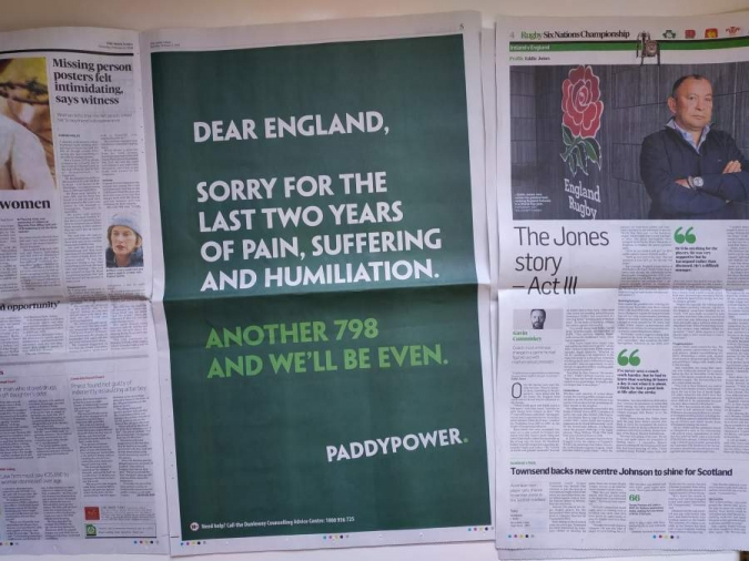 Toc d'atenció a Paddy Power per l'anunci del Sis Nacions